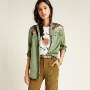 Anthropologie Sequined Cargo Utility Shirt 20W